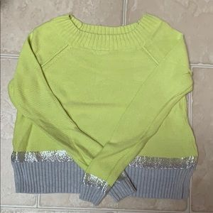 Green, silver, and gray Express sweater
